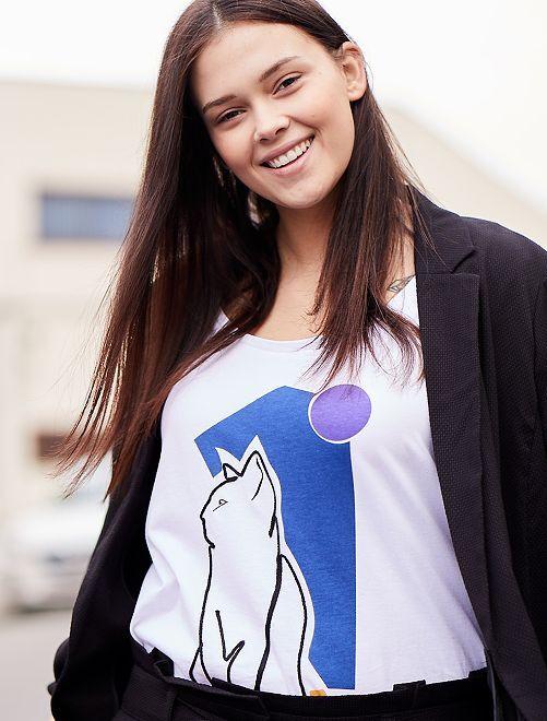 Maglietta applicazione corda                             bianco neve Taglie forti donna