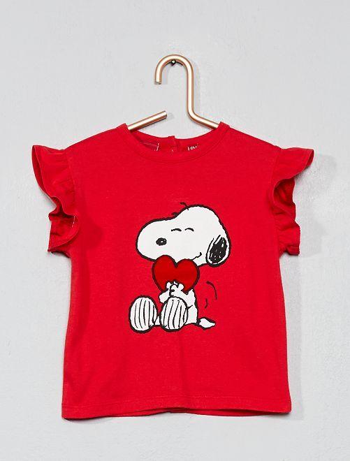 Maglietta applicazione 'Snoopy'                             rosso Neonata
