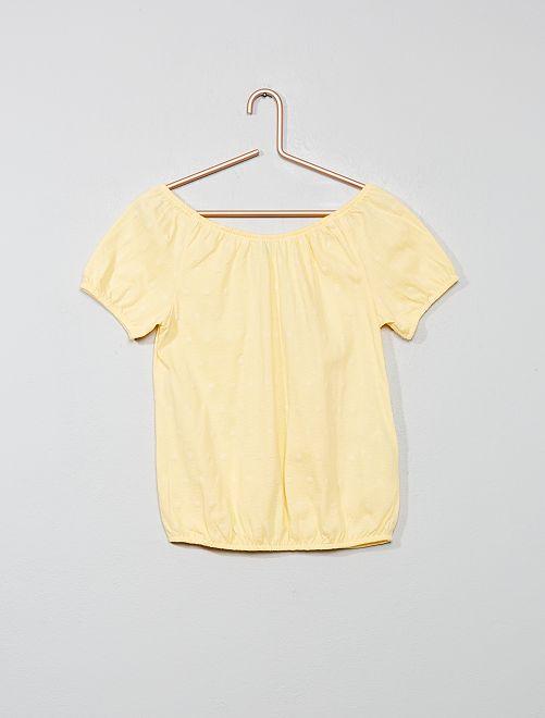 Maglietta Bardot ricamo inglese                                         giallo oro Infanzia bambina