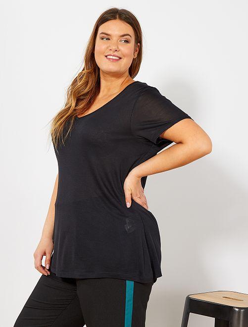 Maglietta basic fluida                                                                             nero Taglie forti donna
