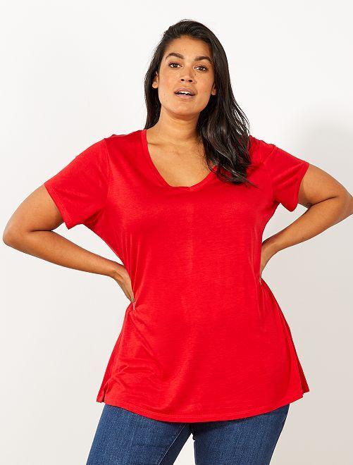 Maglietta basic fluida                                                     ROSSO Taglie forti donna