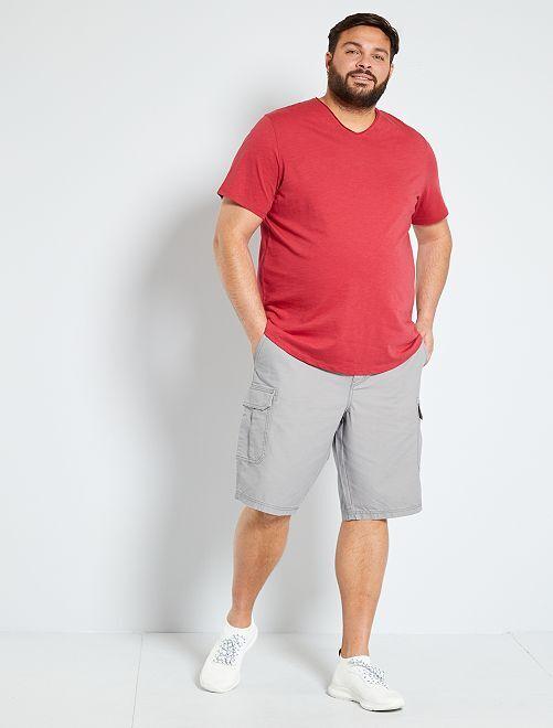 Maglietta collo a V 'eco-design'                                                                 rosa scuro