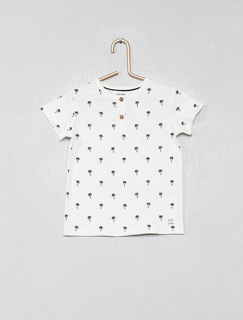 Maglietta collo alla tunisina                                                                                                                 BIANCO Neonato