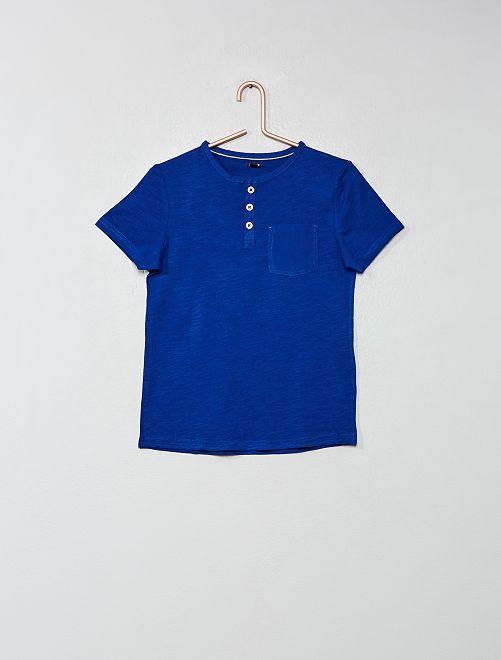 Maglietta collo alla tunisina                                                         blu Infanzia bambino