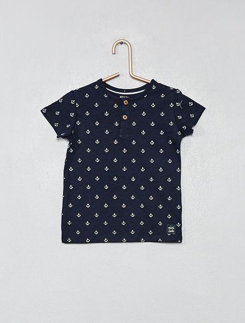 Maglietta collo alla tunisina                                 BLU Neonato