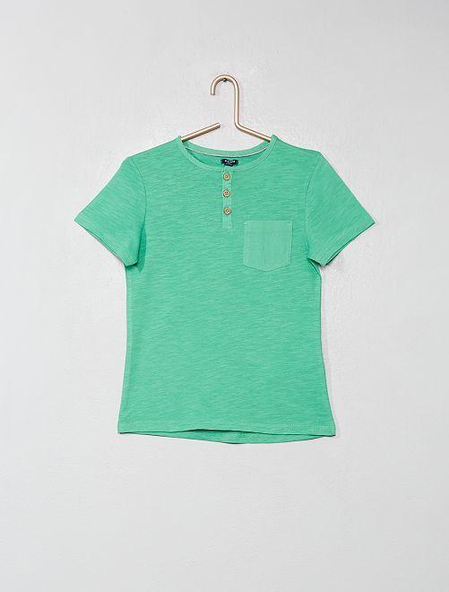 Maglietta collo alla tunisina                                                                                         VERDE Infanzia bambino