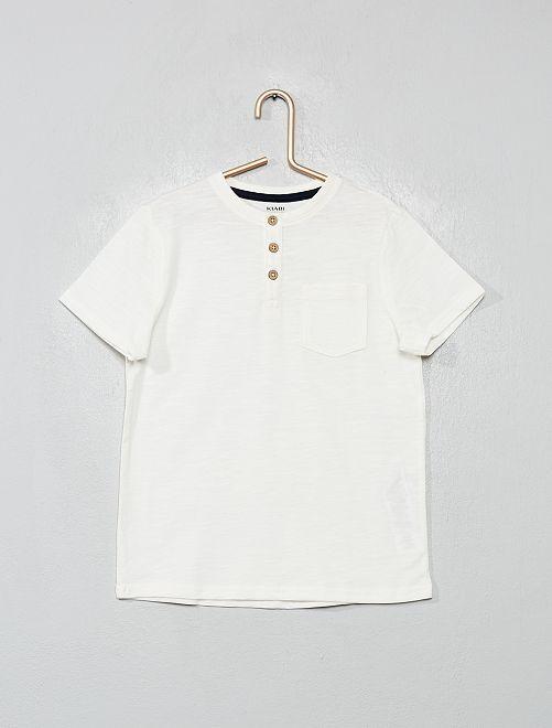 Maglietta collo tunisina cotone bio                                                                 bianco neve