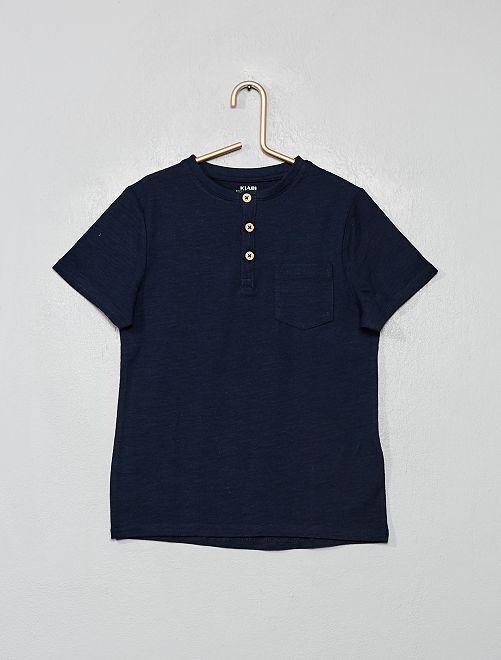 Maglietta collo tunisina cotone bio                                                                 blu