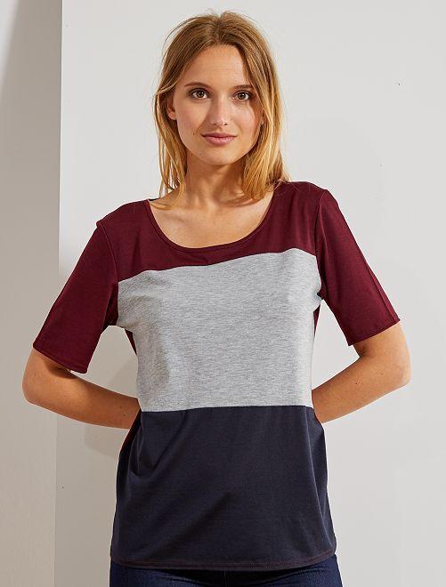 Maglietta color block                             bordeaux Donna