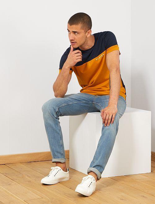 Maglietta color block messaggio                                                                 GIALLO Uomo