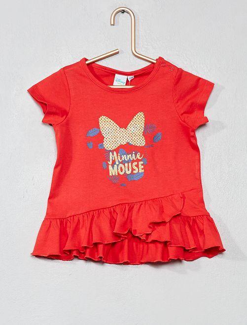 Maglietta con baschine 'Minnie'                                         rosso Neonata
