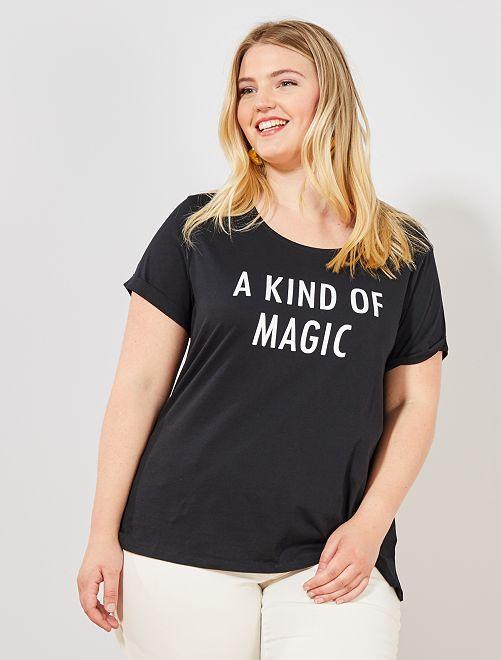 Maglietta con messaggio                                             NERO Taglie forti donna