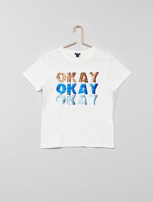 Maglietta con messaggio paillette                                                                                                     BIANCO Infanzia bambino