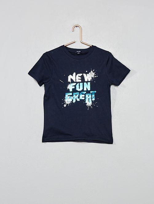 Maglietta con messaggio paillette                                                                                                     BLU Infanzia bambino