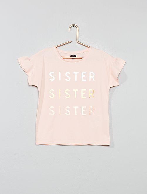 Maglietta con messaggio                                                                                         ROSA Infanzia bambina