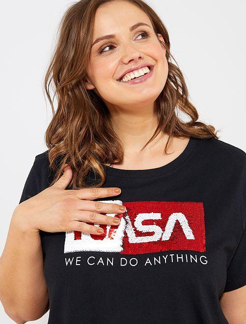 Maglietta con paillette 'NASA'                             nero