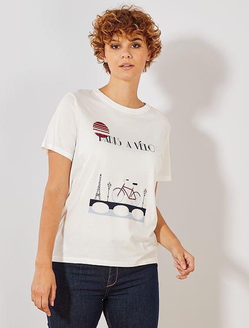 Maglietta con stampa                                                                 BEIGE Donna