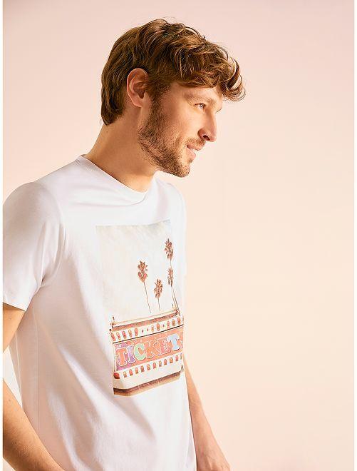 Maglietta con stampa                             BIANCO Uomo