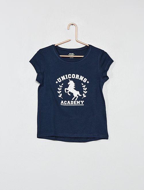 Maglietta con stampa cotone bio                                         BLU Infanzia bambina