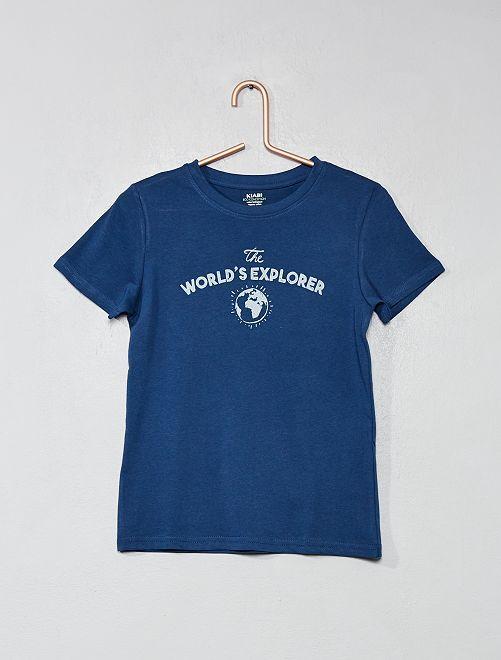 Maglietta con stampa cotone bio                                                                                 BLU Infanzia bambino