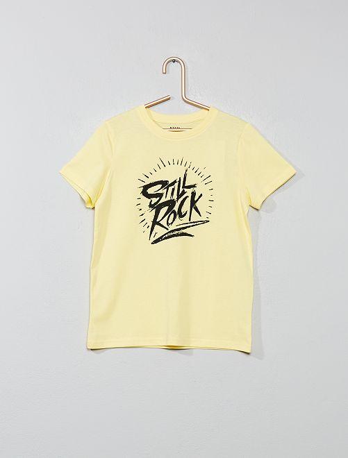 Maglietta con stampa cotone bio                                                                                                                                         GIALLO Infanzia bambino