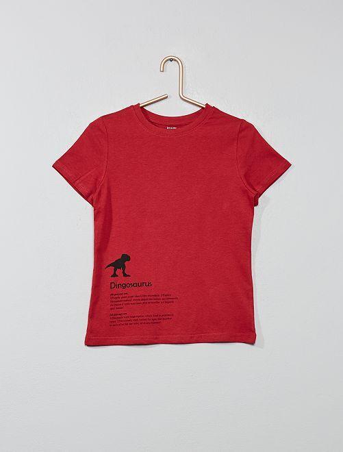 Maglietta con stampa cotone bio                                                     ROSSO Infanzia bambino