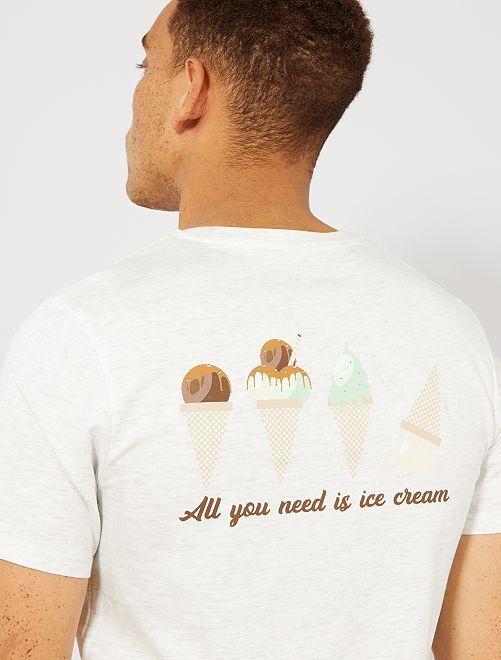 Maglietta con stampa cotone biologico                                                                                                                                                     BEIGE Uomo