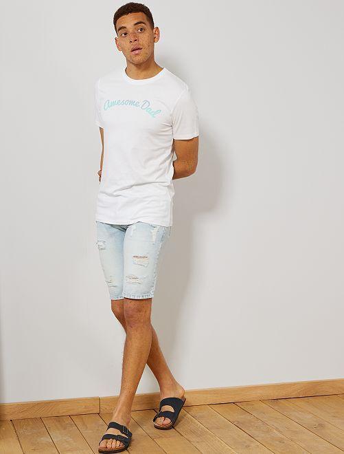 Maglietta con stampa cotone biologico                                                                                                                                         BIANCO Uomo