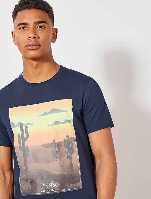 Maglietta con stampa cotone biologico                                                                                                                                                                 BLU Uomo