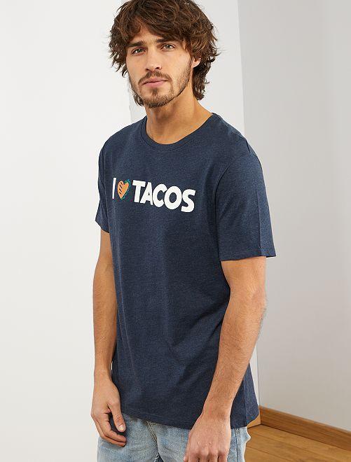 Maglietta con stampa 'eco-design'                                                     BLU