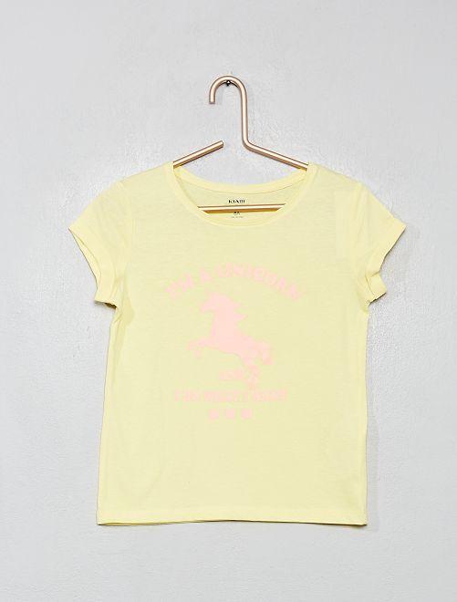 Maglietta con stampa 'eco-design'                                 giallo fluorescente