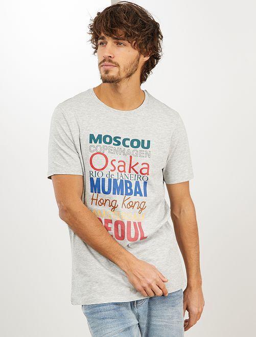 Maglietta con stampa 'eco-design'                                             GRIGIO
