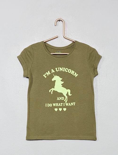 Maglietta con stampa 'eco-design'                                         KAKI