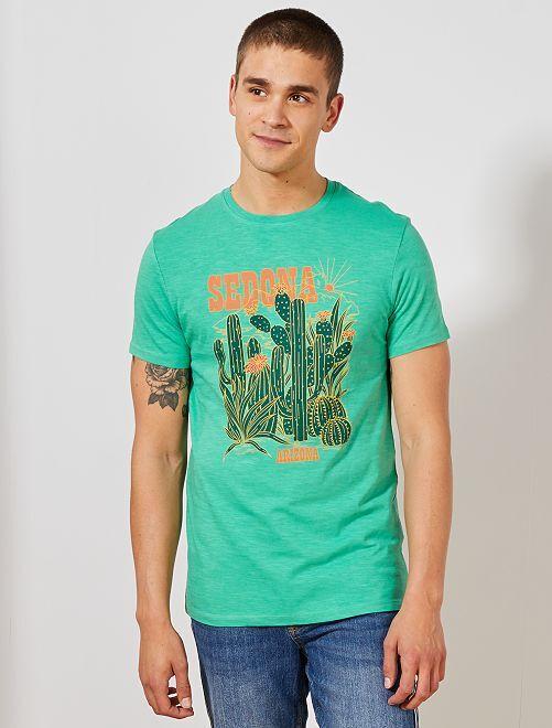 Maglietta con stampa eco-design                                                                                                                             VERDE Uomo