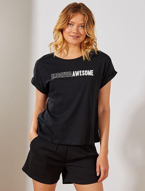 Maglietta con stampa                                                     NERO Donna