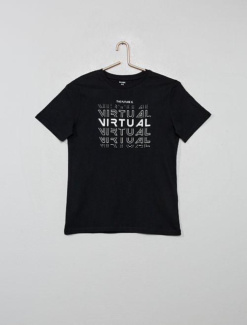 Maglietta con stampa                                                                                                     NERO