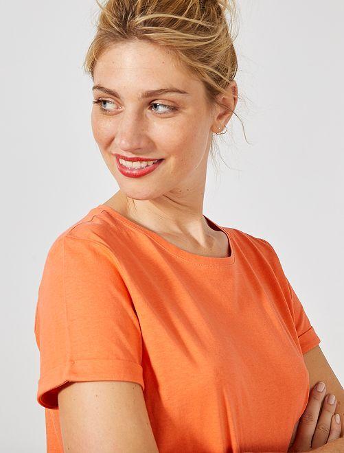 Maglietta cotone bio                                                                                                                                                                                                                                         arancio corallo Donna