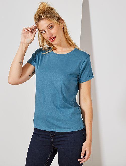 Maglietta cotone bio                                                                                                                                                                                                                                         BLU Donna