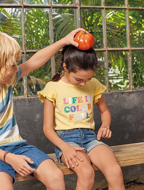 Maglietta cotone bio con messaggio                                                                 GIALLO Infanzia bambina