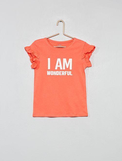 Maglietta cotone bio con messaggio                                         ROSA Infanzia bambina