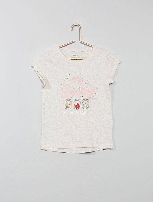 Maglietta cotone bio luccicante                                                         BEIGE Infanzia bambina