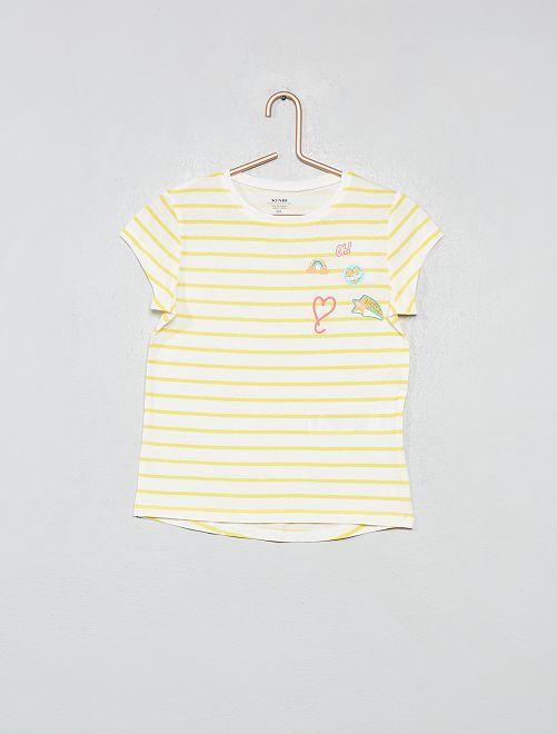 Maglietta cotone bio luccicante                     BIANCO Infanzia bambina