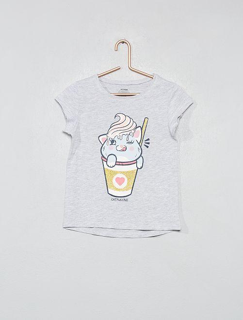 Maglietta cotone bio luccicante                                                                 GRIGIO Infanzia bambina