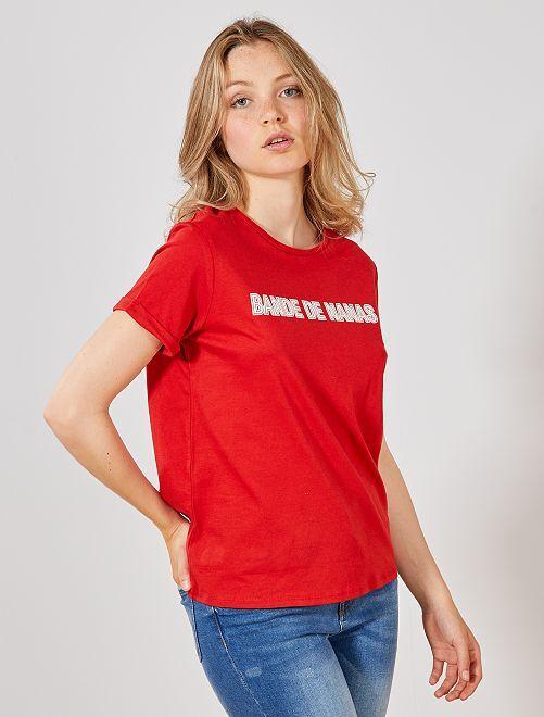 Maglietta cotone bio                                                                                                                                                     ROSSO Donna