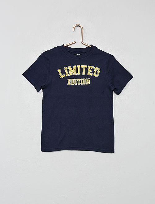 Maglietta cotone bio stampata                                                                                                                             BLU