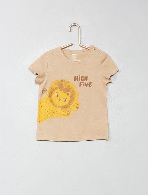 Maglietta cotone biologico                                                                                                                                         BEIGE Neonato