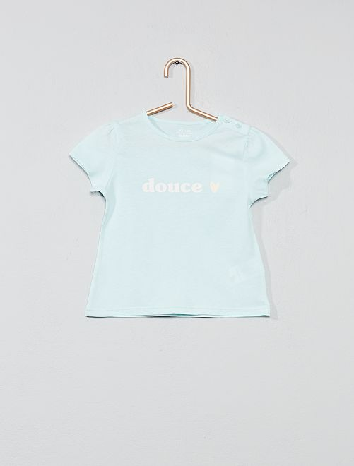 Maglietta cotone biologico                                                                                                                 BLU Neonata