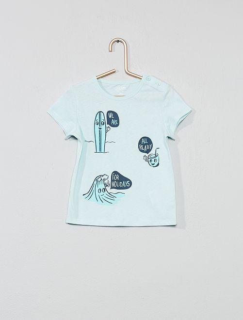 Maglietta cotone biologico                                                                                                                                         BLU Neonato