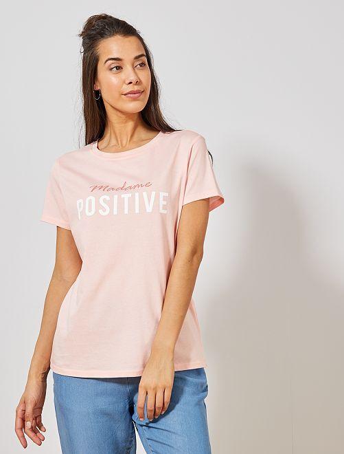 Maglietta cotone biologico messaggi                                         ROSA Donna