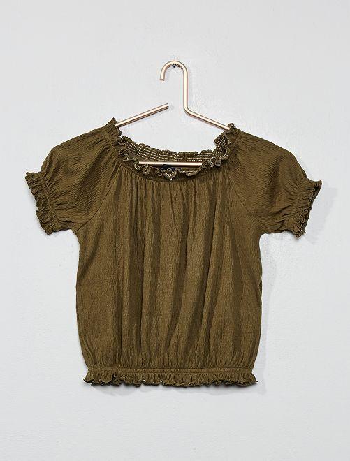 Maglietta crespata Bardot                                                                                         KAKI